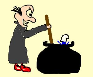 Gargamel cooks a smurf