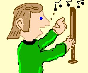 Mullet man sings to his baseball bat