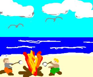 A camp fire on the beach