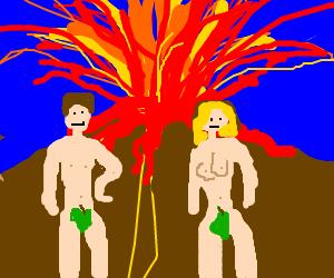 Adam and Steve in desert volcano holiday