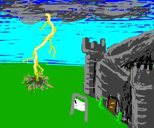 Lightning hits beside the abandoned castle.