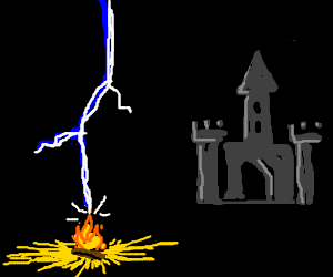 Lightning strikes a campfire outside of a castle