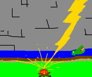 lightning strikes a campfire infront of a castle
