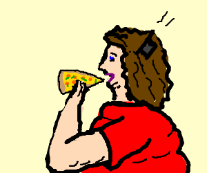Fat women with phone in hair eats pizza
