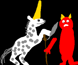 Unicorn cuts off a demon's arm with a knife