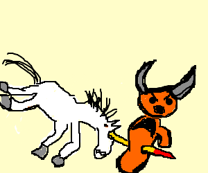 She-ra's unicorn stabs orange baddie with horn