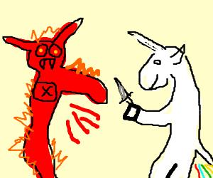 ah unicorn stabbing one arm demon