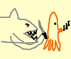 Shark sneak attacks unsuspecting giant squid