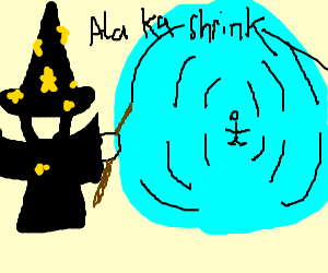 Swedish wizard shrinks friend, Orko unimpressed