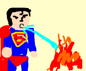 Superman puts out fire with his saliva