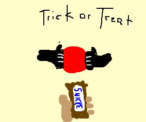 Goatse goes trick or treating.