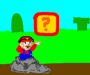 "weird mario stuck in a rock cant punch ""?"" brick"