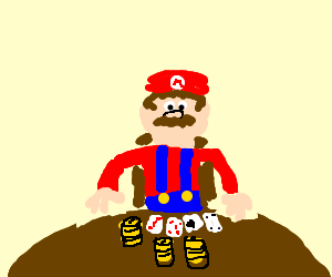Mario at his late night poker game. He's all in.