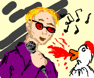 Elton John sings and makes a chicken cry blood