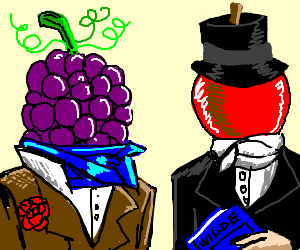 Bunch of grapes and a cherry are dandies.