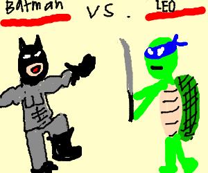 Batman vs. Leonardo(TMNT) in fighting video game