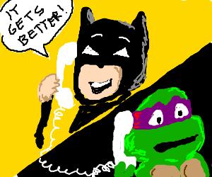 batman trying to stop suicidal ninja turtle