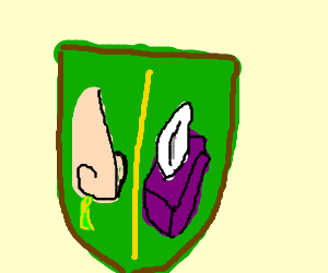 """""""House of Nose"""" coat of arms dripping snot"""