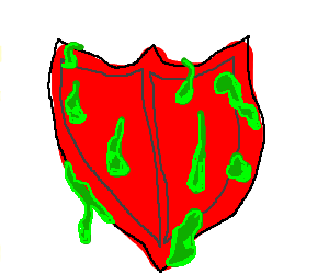 A red shield covered in green slime.