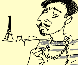 french guy with pearl necklace is sad