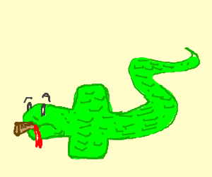A snake swallows a large mallet