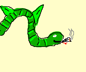 a green snake with fins is smoking a fattie