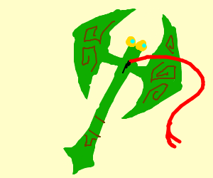 Green flying axelotl with red tongue