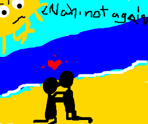 Upset sun staring at kissing couple on beach
