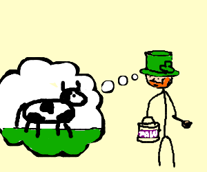 irish man with purple wishes he was a cow