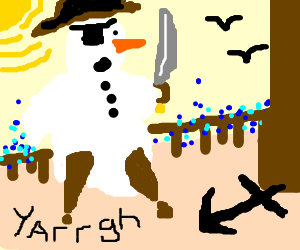 Pirate snowman on his ship