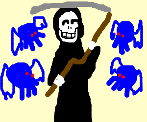 Happy Death is surrounded by blue Cthulhus