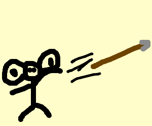 Large-eared stick figure throws projectile