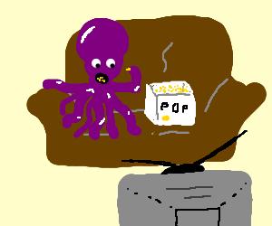 Purple octopus eating popcorn while watching TV