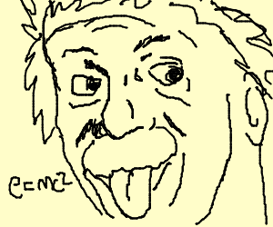 Einstein thinks even while he makes a silly face