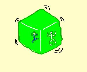 Man stuck inside a Gelatinous Cube with a corpse
