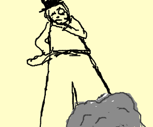 Man w\ monocle confused by dumb rock on a sledge