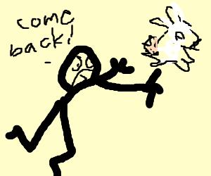 Man chasing ghost bunny