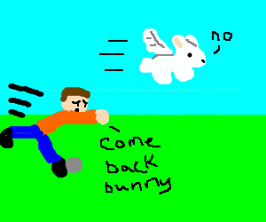 Man trips as he tries to catch his flying bunny