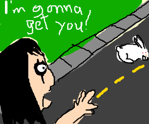 Alice chases white rabbit down the street
