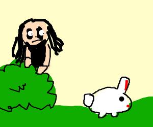 Alice Cooper stalks a white rabbit