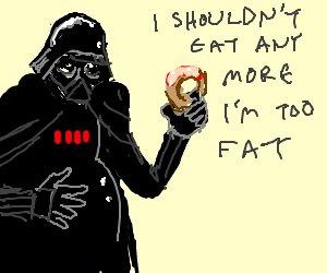 darth vader has self image problems with a donut