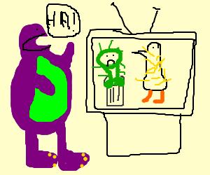 Barney laughs at Sesame Street.