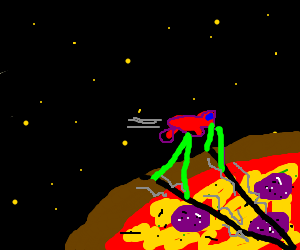 Small red spaceship examines Pizza tectonics