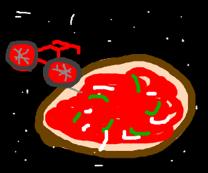 Red spacebike attempts to slice giant spacepizza