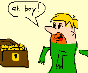 dinosaur Barney finds treasure chest of gold