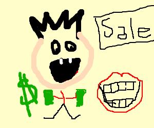 Toothless man buying teeth in Sale