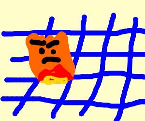 An angry flame burns up a blue net.