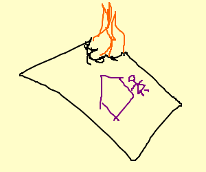 the drawing is burning!