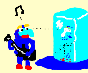 Guitar playing Gonzo sees his reflection on ice