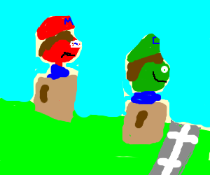 Mario loses sack race, then gets rained on. Awww